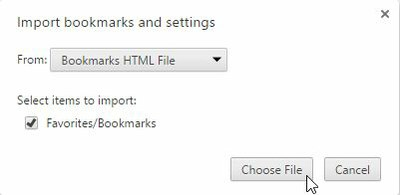 Chrome Import Bookmarks
