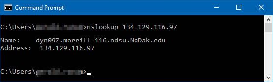 nslookup command