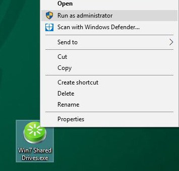 Windows 7 Shares RunAs Administrator