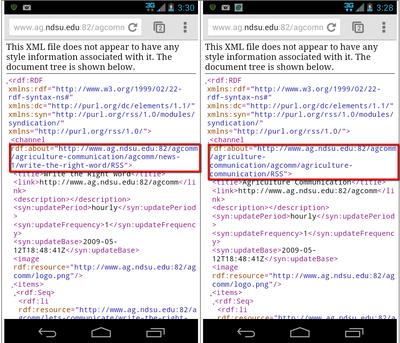 XML error for RSS feeds on edu./AgComm
