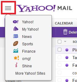 Yahoo expand menu on web