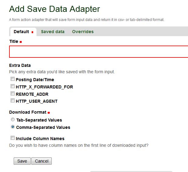 Save Data Adapter
