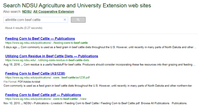 Search results for corn beef cattle using allintitle command