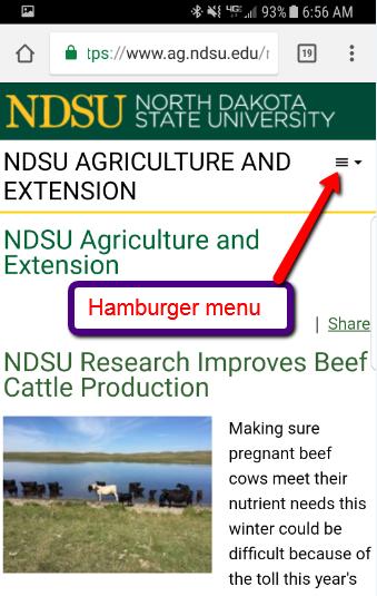hamburger menu on Ag CMS