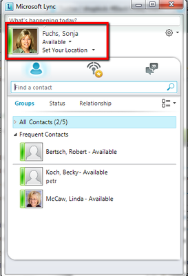 Lync Avatar Screenshot
