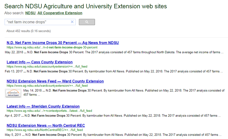 Search results for net farm income drops with quotes