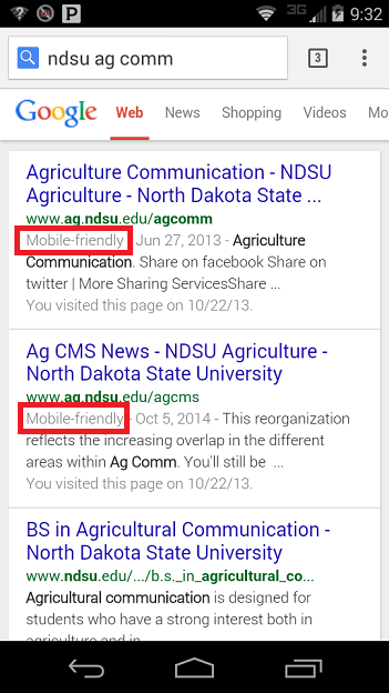 Screenshot of mobile-friendly search