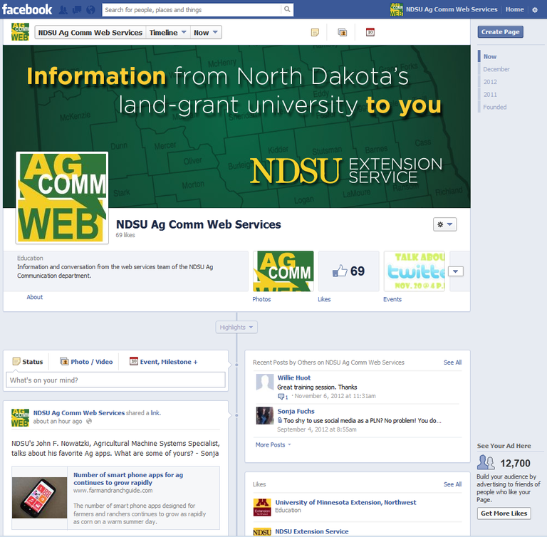 NDSU Ag Comm Web Services Facebook page screenshot