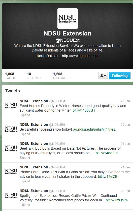 NDSU Extension Service Twitter screenshot