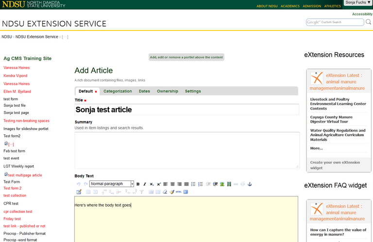 add article title in ag cms