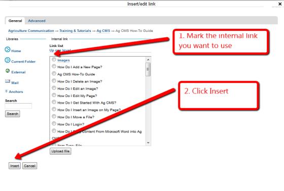 Choose internal link screenshot