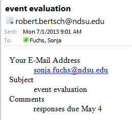 Email notification of form filled out