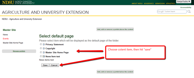 Choose the content item you want to use as a homepage and save.