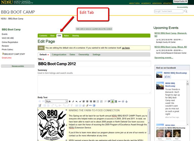 Screen shot of the Edit tab.