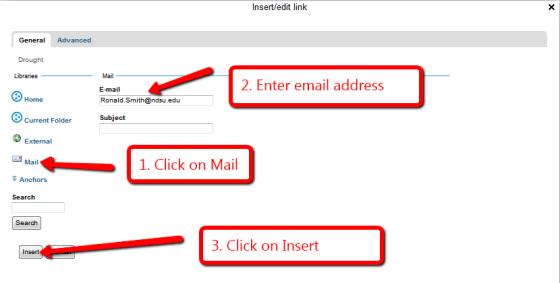 Insert email link screenshot 2 of 3