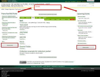 Manage Portlet link