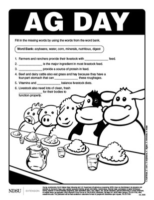 Ag Day Coloring Sheet - 4-6, 2020