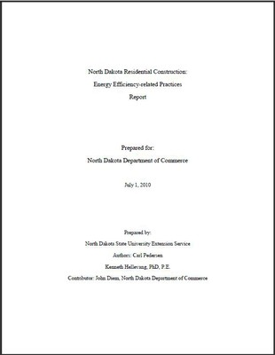ND Current Energy Efficiency Building Practices
