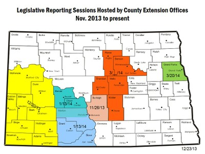 County Legislative Reporting Sessions Held/Scheduled