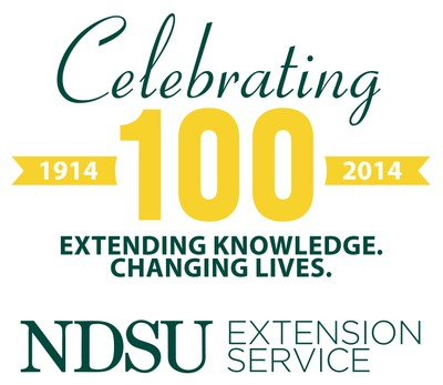 NDSU Extension Centennial logo - green and yellow