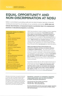 Equal Opportunity and Non-Discrimination at NDSU Poster