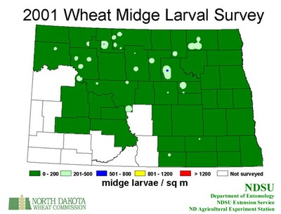 2001 Wheat Midge Map