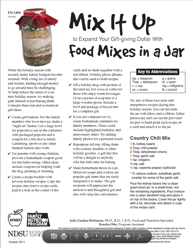 Food Mixes in a Jar