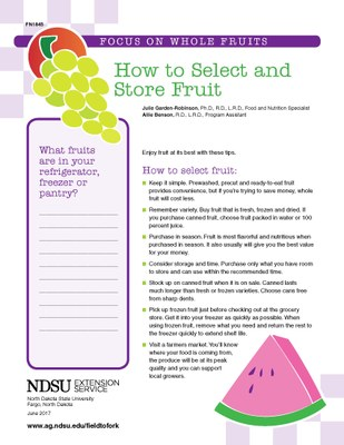 Focus on Fruit : how to select and store fruit 1845