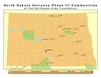 Map of Phase III North Dakota Horizons Communities