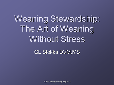 Weaning Stewardship: The Art of Weaning Without Stress