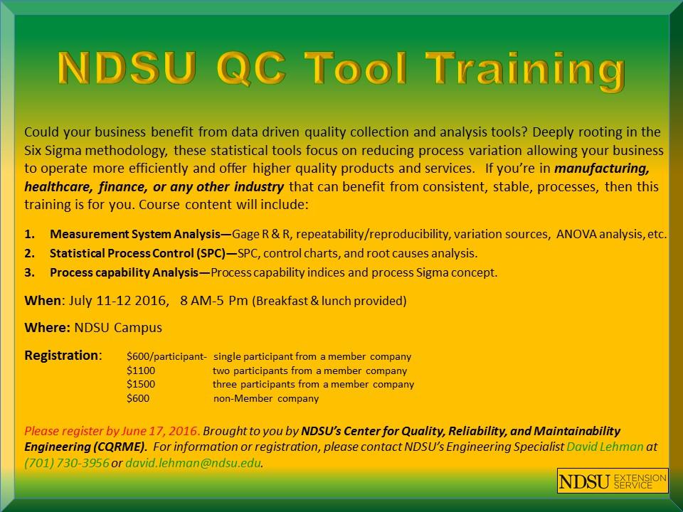 NDSU QC Tool Training