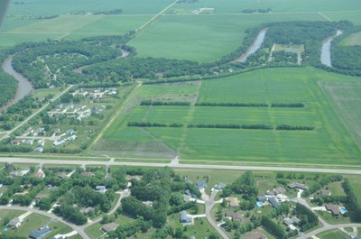 Aerial view of a ND community