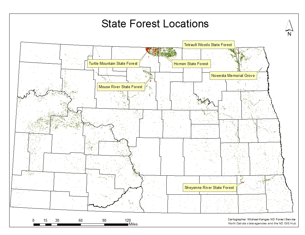 State Forests North Dakota Forest Service - North dakota rivers map