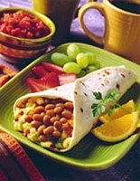 This fiber-rich Breakfast Egg and Bean Burrito recipe can fit in a lacto-ovo-vegetarian diet if you remove the bacon and choose vegetarian-style beans. (Photo courtesy of Canned Food Alliance, www.mealtime.org)
