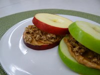 Fiber-rich fruit with nut butter is an easy-to-make, nutritious snack. (NDSU photo)