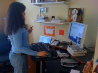 Ideally the height of a standing desk fits the height of its individual user. Flickr: Shawn Porter