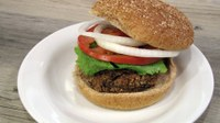 If you want to try something different, here's a fiber-rich black bean burger recipe using canned black beans. (NDSU photo)