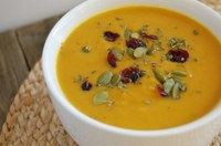 Savory pumpkin soup is tasty and nutritious, with lots of fiber, vitamin A and other vitamins. (NDSU photo)
