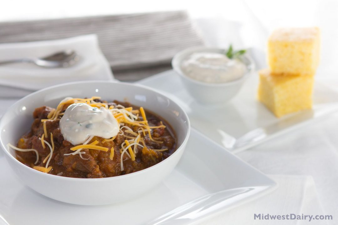 Beef and squash chili is perfect for a chilly end-of-the-winter meal. (Photo courtesy of the Midwest Dairy Council)