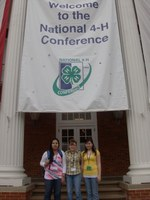 North Dakota 4-H members (from left) Lindsey Twinn of Fort Yates, Mercedes Ridley of McLaughlin, S.D., and Kirsten Ridley of Shields pause outside the National 4-H Conference Center.