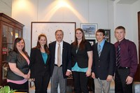 North Dakota's delegates to the National 4-H Conference meet with U.S. Sen. John Hoeven, R-N.D. Pictured are, from left to right: NDSU 4-H youth development specialist Katie Tyler, conference delegate Deann Berntson, Hoeven, and conference delegates Bobbi Jo Kronberg, Colby Hennessy and Justin Zahradka.