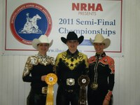 Three members of NDSU's equestrian team display the ribbons they received at the Intercollegiate Horse Show Association's semifinal show in Findlay, Ohio. They are, from left to right: Shannon Voges, Juliann Zach and Kelly O'Connell.