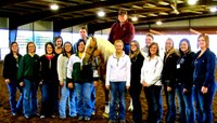 NDSU's Collegiate Horsemen's Association visits McQuay Stables during the American Collegiate Horsemen's Association convention in Fort Worth, Texas. Pictured are (from left to right; all are club members unless otherwise noted) back row: Amanda Grev, David Anderson, stable owner Tim McQuay and Jenna Benjaminson; front row: Shannon Voges, adviser Carrie Hammer, Citty Cole, Brittany Huggins, Catie Vieths, Janessa Thompson, Jackie Eldredge, Janelle Lanoue, Kelly O'Connell, Codie Miller and adviser Tara Swanson.