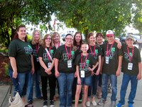 Several North Dakota 4-H'ers attend FilmFest 4-H in Branson, Mo. Pictured (from left) are: Stark-Billings County Extension agent Samantha Roth, Bethany Reitan (Barnes County), Ashley Tahran (Barnes County), Megan Tichy (Barnes County), Sara Hatlewick (Stutsman County), Kelsey Hibl (Stark County). Maizie Richard (Stark County), Brittany Berger (Stark County), NDSU Extension 4-H youth development specialist Linda Hauge, Seth Kjellberg (Stutsman County) and Kail Larsen (Stark County).