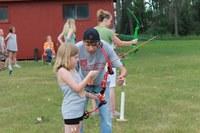 4-H'ers learn about archery at the North Dakota 4-H Camp near Washburn.