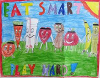 """Caitlin Reiten of Kathryn receives third place in the preteen division of the 2014 """"""""Eat Smart. Play Hard."""""""" poster contest with this poster."""