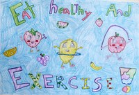 """Ella Leidy of Wilton takes first place in the preteen division of the 2014 """"""""Eat Smart. Play Hard."""""""" poster contest with this entry."""