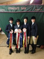 Four members of NDSU's hunt seat equestrian team competed in the Intercollegiate Horse Show Association's Zone 7, Region 3, horse show in Stillwater, Minn., in February. They are, from left, Deann Berntson, Sarah Bridge, Kaylin Scarberry and Sydney Larson. Berntson, Bridge and Scarberry are advancing to competition in Madison, Wis., in April.