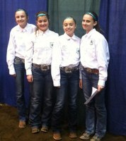 The Morton County team of (from left) Brenna Hoger, Morgan Henke, Brooke Heidrich and Ashley Goldade took first place in the junior division of the 4-H hippology contest at the North Dakota Winter Show.
