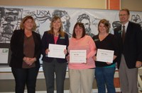 Left to right: Roxanne Meyer, Farm and Ranch Guide; Julie Garden-Robinson, food and nutrition specialist; Katie Tyler, 4-H youth development specialist; Callie Johnson, McHenry County Extension agent, family and consumer sciences; and Chris Boerboom, NDSU Extension Service director